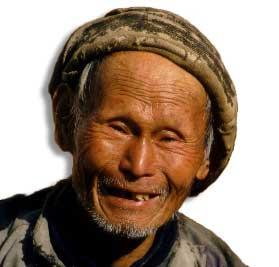 Dunkelhäutiger Chinese